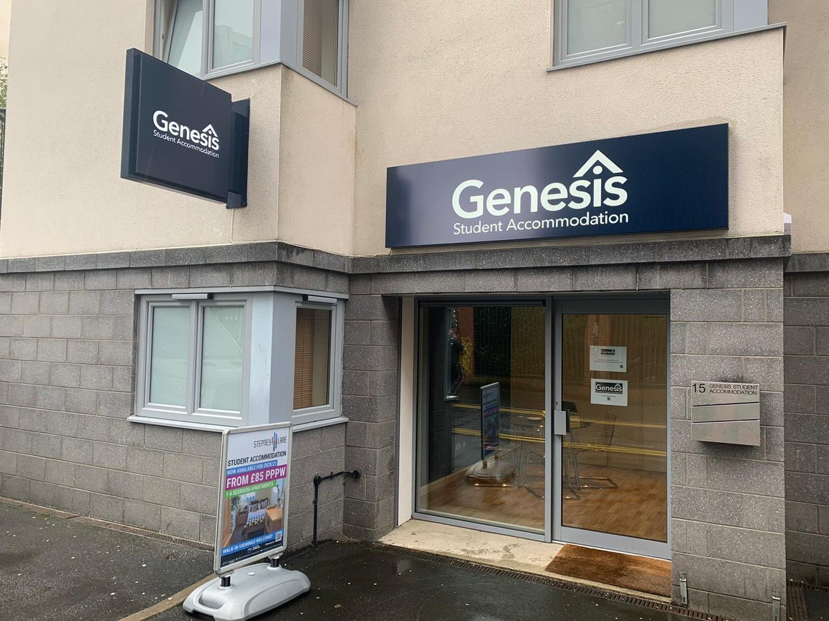 You are all ready to go @genesisstudents looking 👀 sooooo good 🤜🏼🤛🏼 #teamellis bringing their A game once again 🔥 #signs #signage #aluminium #acrylic #led #student #accommodation #newcastle #creatinganimage #localbusiness #ellissigns https://t.co/xMozwBU9uB