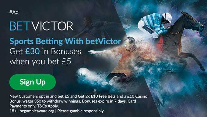Betvictor is one of Europe's leading online gaming companies  New Customer Sign Up Offer  Bet £5 Get £30 In Free Bets Link below https://t.co/N4BiG6Wn38  18+ T&Cs Apply Please Gamble Responsibly #PremierLeague #EPL #Betting #PL▫️0 https://t.co/ZPJbPua2ti