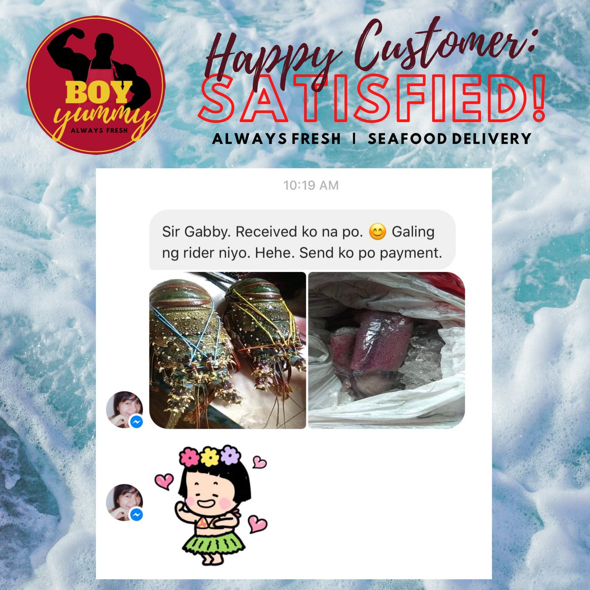 Maraming salamat po sa ating first-time customer na si Ms Danica ng Novaliches, Quezon City.  #HappyCustomer #satisfied #fresh #lobster #squid #seafood Order yours today. https://t.co/zaCkUU02pY
