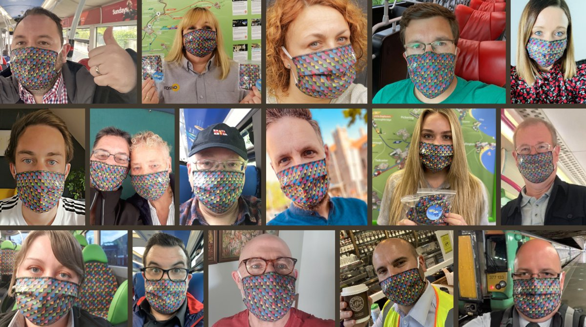 🚍🛍 Back on the bus or going shopping? We've got you covered with our 'all the colours of Transdev' face coverings.  🔹 £4.50 from our pop-up online shop 👉https://t.co/BhxVHLzh8k  #CleanSafeReadytoGo https://t.co/ZUYfOCyD4B