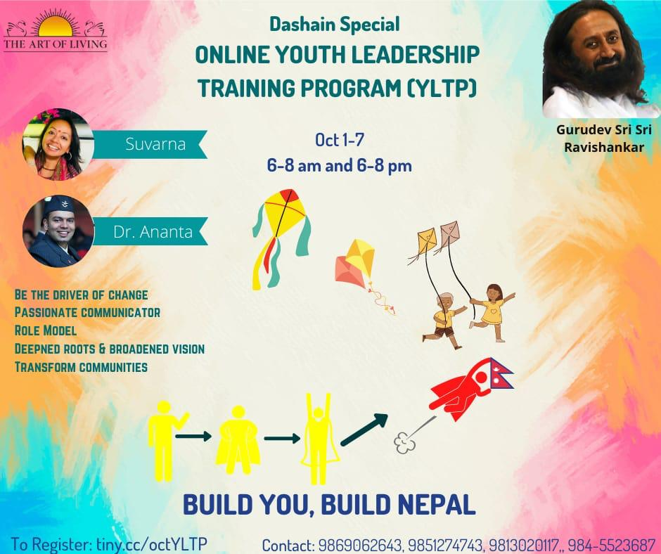 #Dashain Special Online #Youth #Leadership Training Program - #YLTP  1 - 7 October | 15 - 21 Ashoj 6 - 8 am & pm both Morning & Evening sessions mandatory  Know more & Register - https://t.co/1RUUFAIBEH  BOOK YOUR SEATS 9869062643, 9851274743 9813020117, 9845523687 https://t.co/jcu4NcfLHZ