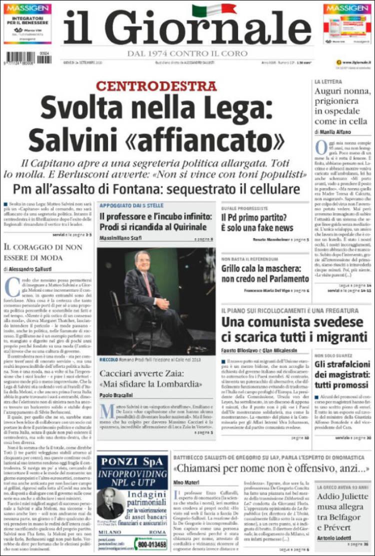 IL GIORNALE https://t.co/a6a0AW37Ee #r2p #IlGiornale #Italia #UE #Europe #USA #Biden #Trump #Euro #Italie #Italy #Coronavirus #Virus #Covid #Maduro #SergioMattarella #GiuseppeConte #Mib30 #Poutine #Formula1 #Ferrari #Liban #Beirut #JeffBezos #NBA #AndreaPirlo #Berlusconi #Renzi https://t.co/LvumElOUmw