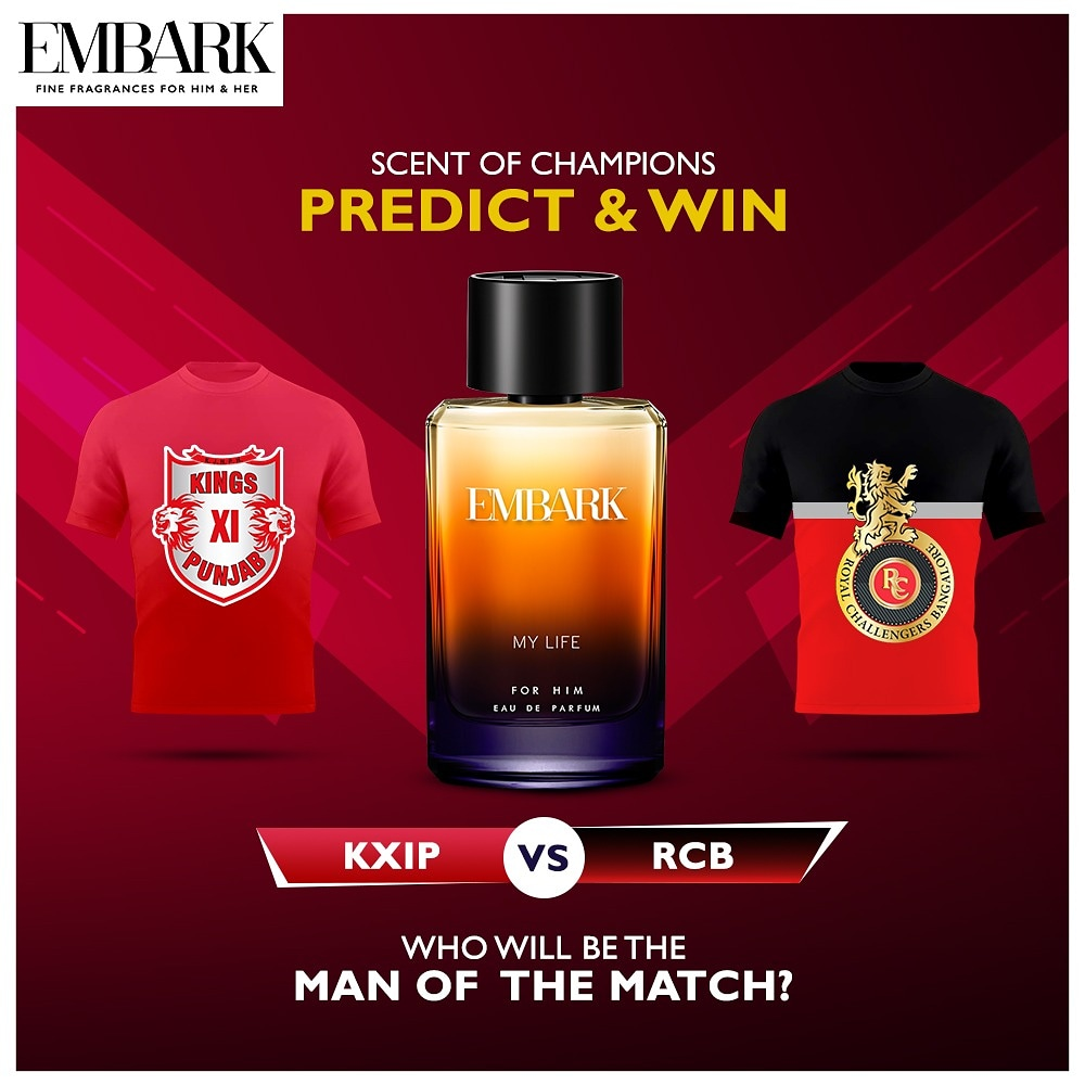 1. Follow @EmbarkPerfumes 2. RT this tweet 3. Comment with the answer, and tag atleast 5 friends to be eligible to win prizes. We will choose 2 winners who have answered correctly at random. #Contest closes before the game starts today. #giveawayalert #giveaway #giveawayIndia https://t.co/1X2VmM61QP