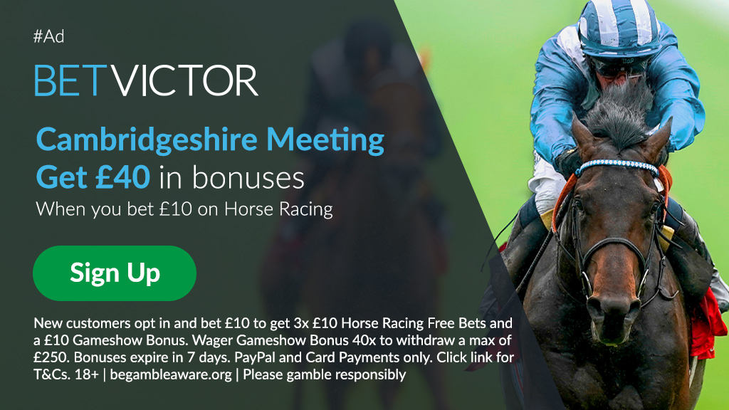 🎆 40 FREE BETS 🎆   To celebrate the start of the #Cambridgeshire Meeting at #Newmarket today, BetVictor has launched this new special 👇  ➡️ https://t.co/jq1vyco6er  1. Sign Up 2. Bet £10 3. Get £40  It's that simple! 💸💸  🔞 18+. BeGambleAware. https://t.co/fV7fKIcPcA