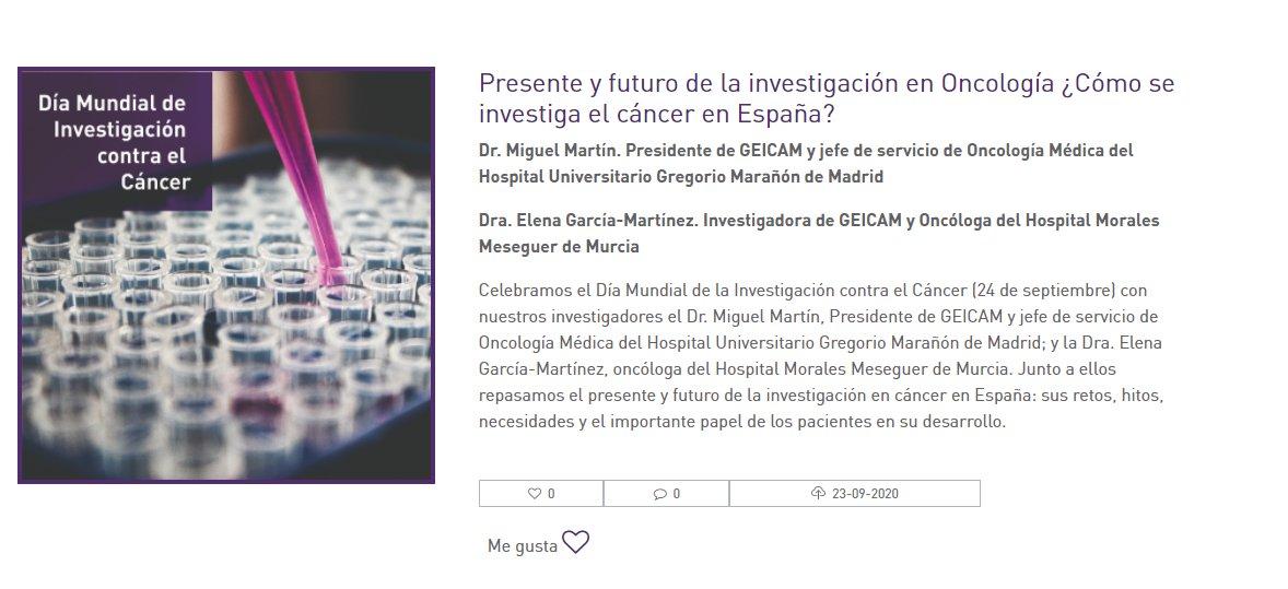 ¿Sabes cómo funciona la investigación en #cáncer en España? En el #DíaMundialdelaInvestigaciónenCáncer #WorldCancerReserachDay el presidente de @GEICAM, el Dr. Miguel Martín, y la Dra. Elena García-Martínez hablan sobre sus retos, necesidades, hitos... https://t.co/7iBfPjsYHN https://t.co/6Cs18WLoOh