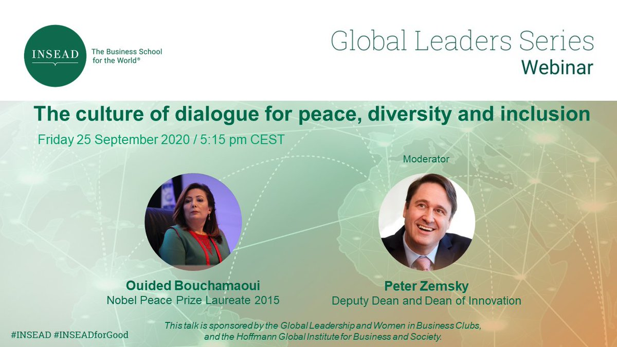 We are excited to announce that tomorrow @INSEAD welcomes the dynamic North African business leader and former #nobelpeaceprize Laureate, @OBouchamaoui to Fontainebleau.  For more information or to sign up, visit https://t.co/UyoSJAOnN2  #genderequality https://t.co/hkIz1ldXro
