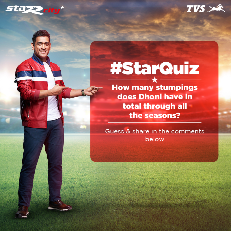 It's trivia time!   The StaR behind the stumps - take a guess on how many stumpings @msdhoni has so far in total through 13 seasons of the premier league.   Share your answers in the comments below!  #TVS #StaRcityplus #StarQuiz https://t.co/5Pgi0O3wgv