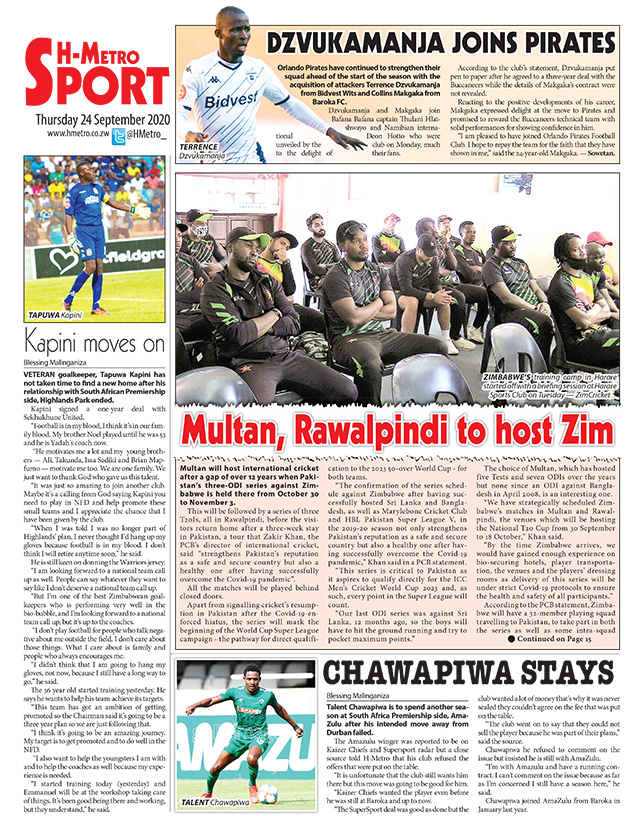 Todays back page. More in hmetro.co.zw