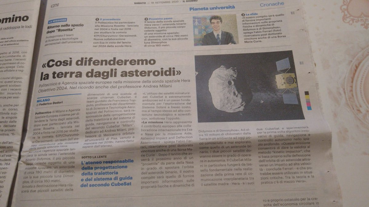In the news! Talking about #HeraMission, #Milani cubesat and @AsteroidDidymos with @FrancescoTop on @qn_giorno, and featured on the cover of today's @Liberta_it @AerospacePoliMI https://t.co/D2XqdjjnLu
