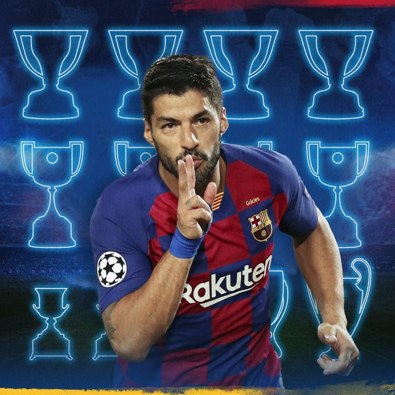 🙌 @LuisSuarez9 🙌  Liga 🏆 🏆 🏆 🏆 Copa del Rey 🏆 🏆 🏆 🏆 Supercopa de España 🏆 🏆 Champions League 🏆 Mundial de Clubs 🏆 Supercopa Europa 🏆  💙❤️ #9raciasLuis https://t.co/xZhhyWDLI0