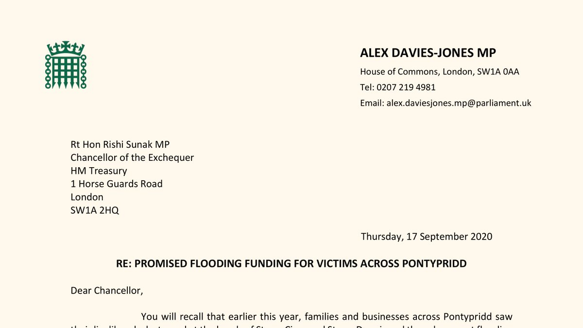 ❗With #COVID19 taking over, we must not allow the UK Tory Gov to forget about #flooding victims in #Pontypridd  Following my plea in the @HouseofCommons, I've written to the Chancellor @RishiSunak urging him to give the money he promised to the Welsh Gov that desperately needed. https://t.co/m3oSWWVbAh