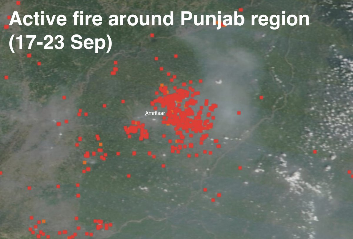 Active fire map of Punjab as stubble burning intensifies.  One can easily see the smoke in this satellite view. Another smokey winter for northern India?  Source: FIRMS, NASA https://t.co/xBKXUidYYZ