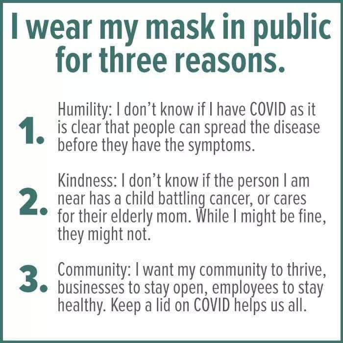 Wear a mask. It doesn't matter what reason you convince yourself with. Just wear one. Here are 3 very good reasons: https://t.co/aj1zwmpy1A