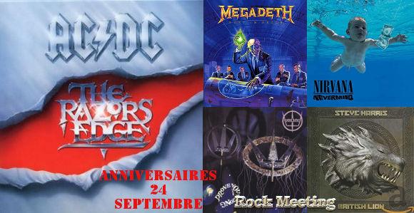 Les anniversaires ce 24 septembre : #ACDC, #Megadeth, #Dokken, #DreamTheater, #Metallica, #Slipknot, #Nirvana, #Prong, #Down, #Darkthrone, #Voivod, #ArchEnemy :   https://t.co/xSgwekwMJi https://t.co/UtWccbiwst