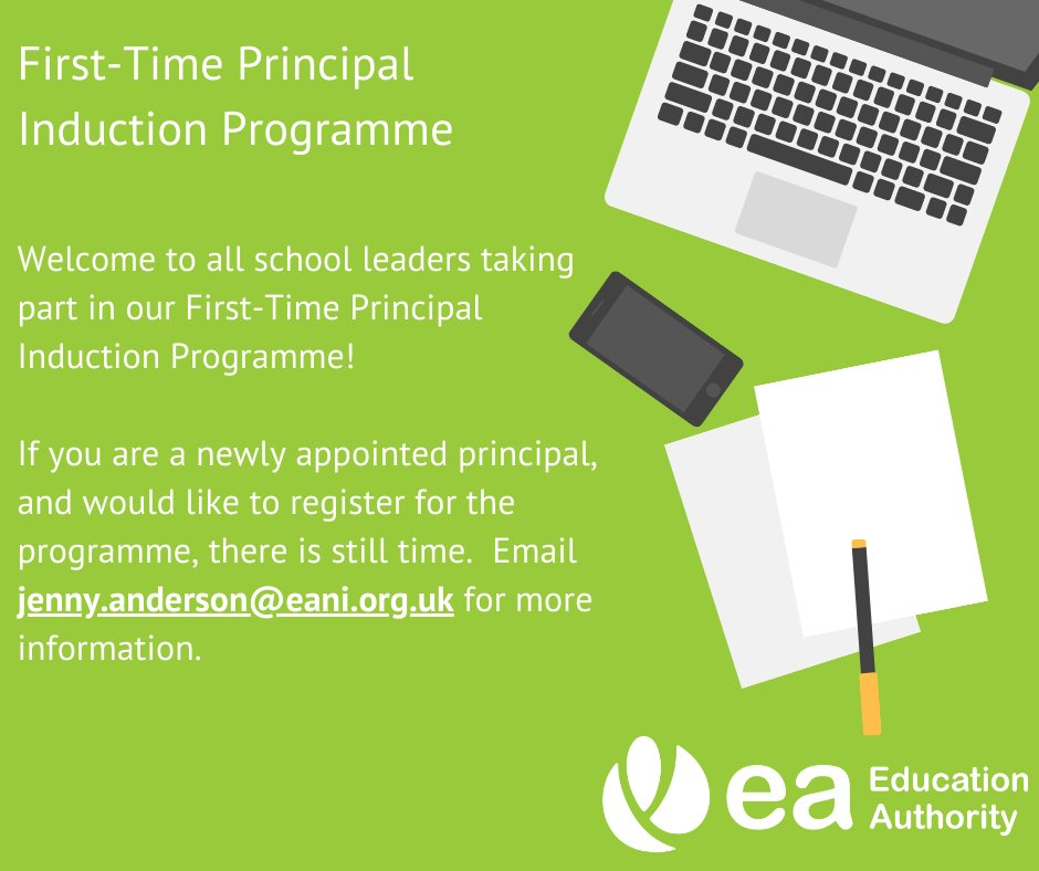 It is Day One of our virtual First-Time Principal Induction Programme! Expect a really useful day filled with helpful advice and resources.   If you are a newly appointed principal there is still time to register. Contact jenny.anderson@eani.org.uk for more information. https://t.co/Ql7H02iA2o