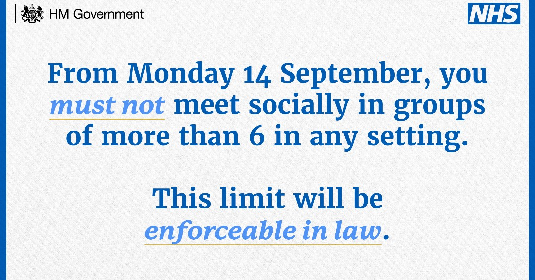 You must not meet socially in groups of more than 6 in any setting.  This limit will be enforceable in law.👮‍♀️ #RuleOfSix #StayAlert #ControlTheVirus #SaveLives #SocialDistancing #ProtectYourself #ProtectOthers https://t.co/kDrNFpqij7