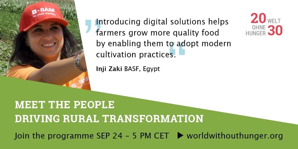 This 24 September #thefutureisrural! Our colleague Inji Zaki drives rural transformation in #Egypt. Watch 📺 https://t.co/5dIGw0O5O5 & send a signal to step up momentum for #zerohunger. At 5 pm CET #Meetthepeople driving #ruraltransformation! More info: https://t.co/uDKm45VSAe https://t.co/d5UZIH9p90