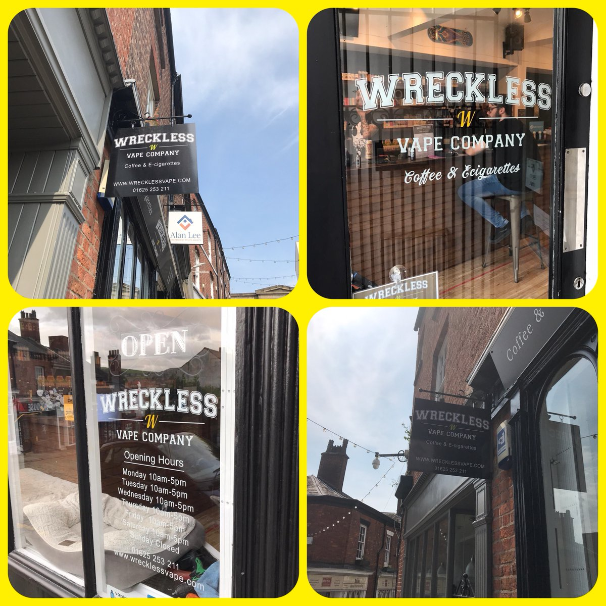 Thank u Wreckless Vape Company  For choosing #signs Express #Macclesfield to supply & fit #swinging #sign on bracket & #windowgraphics ! For all yr #signage needs 📞01625708854 #cheshire #CheshireSet #Wilmslow #Macclesfieldbusiness #Alderley #Altrincham #Congleton #Middlewich https://t.co/qumgYUA1dF
