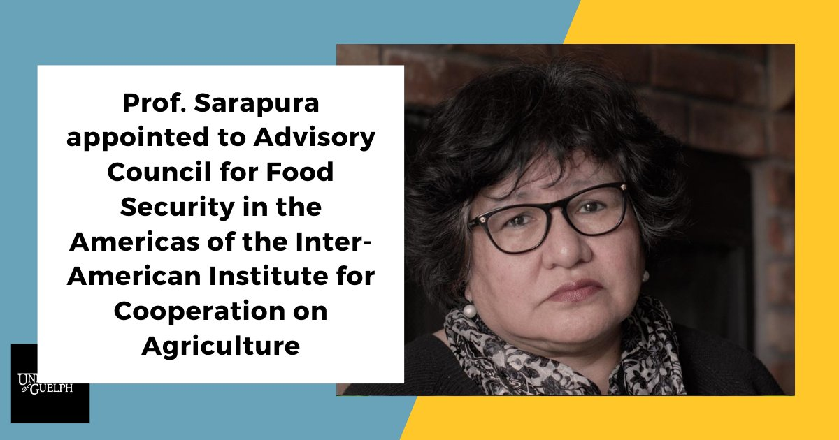 Congratulations to Prof @Silviasarapura1 on her appointment to the Advisory Council for Food Security in the Americas with @IICAnoticias! Learn more at: https://t.co/C2occFRU21  #ruralplanning #Agriculture #Agricultura @SEDRD  @UofGuelphOAC https://t.co/RPU73xyXvq