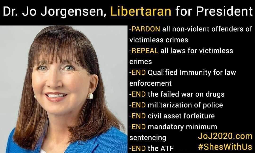 You have a better team on every state ballot - @Jorgensen4POTUS and @RealSpikeCohen. There for true criminal justice reform. #LetHerSpeak #SpikeTheDebates #EndQI #EndNoKnocks #EndWarOnDrugs #EndPoliceMilitarization #EndCAF https://t.co/5TkasWLgnr https://t.co/B26097DbM7