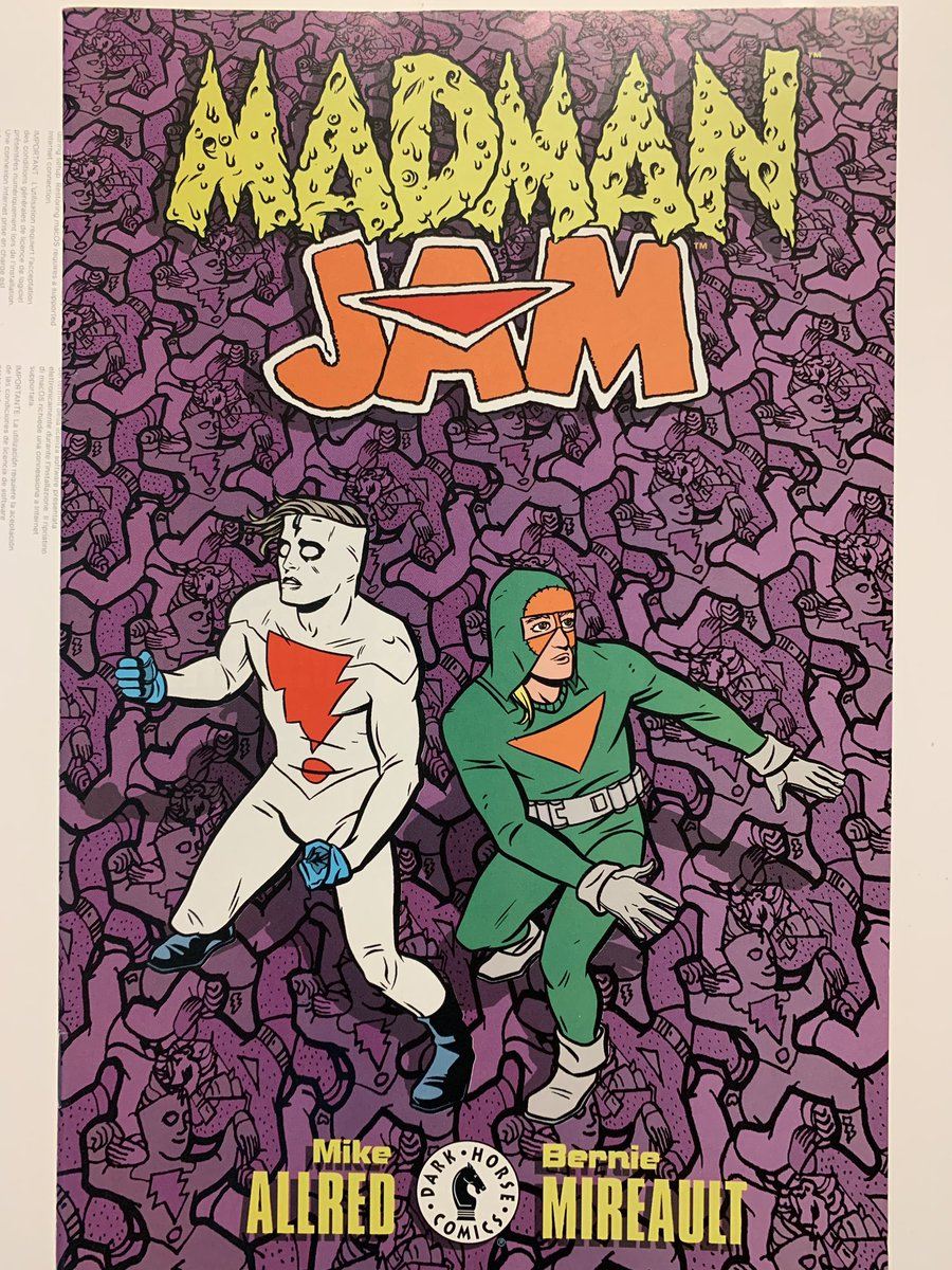 """And of course Frank Einstein is featured in a few crossovers. Here's a fave: Madman Jam by @AllredMD and Bernie Mireault, another stalwart of the 90s indie comics scene. Bernie did great work with The Jam and his short Grendel run. This """"House of Escher"""" 2-shot is triiiippy. https://t.co/lVRjwJkJ19"""