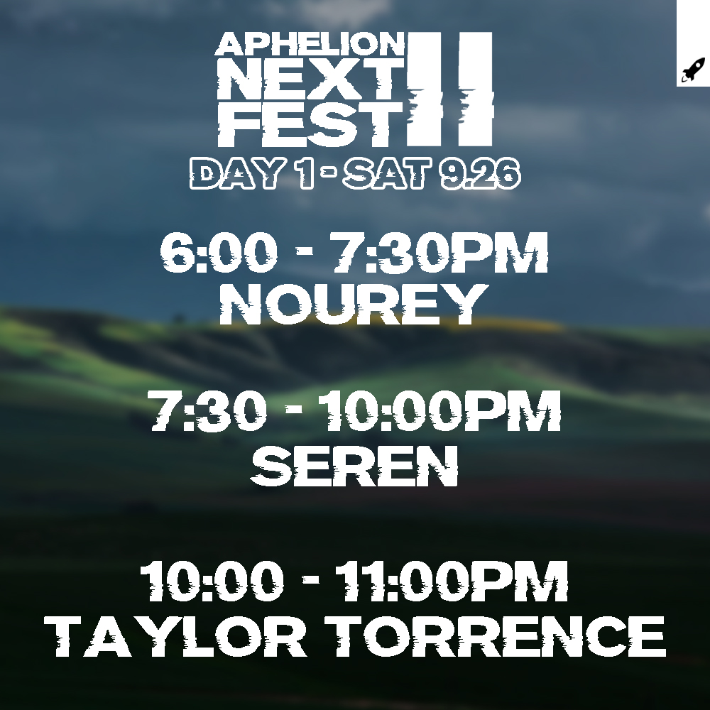 I am proud to announce the Set Times for #AphelionNextFestII! The artists have put together some amazing sets of varied lengths & across the genre spectrum.  I'll be playing a 2.5 hour main set on Saturday, as well as one of my trademark deep sets.  🔽🔽🔽 https://t.co/LHEM1sxh5d https://t.co/Mcpaj6IgX4
