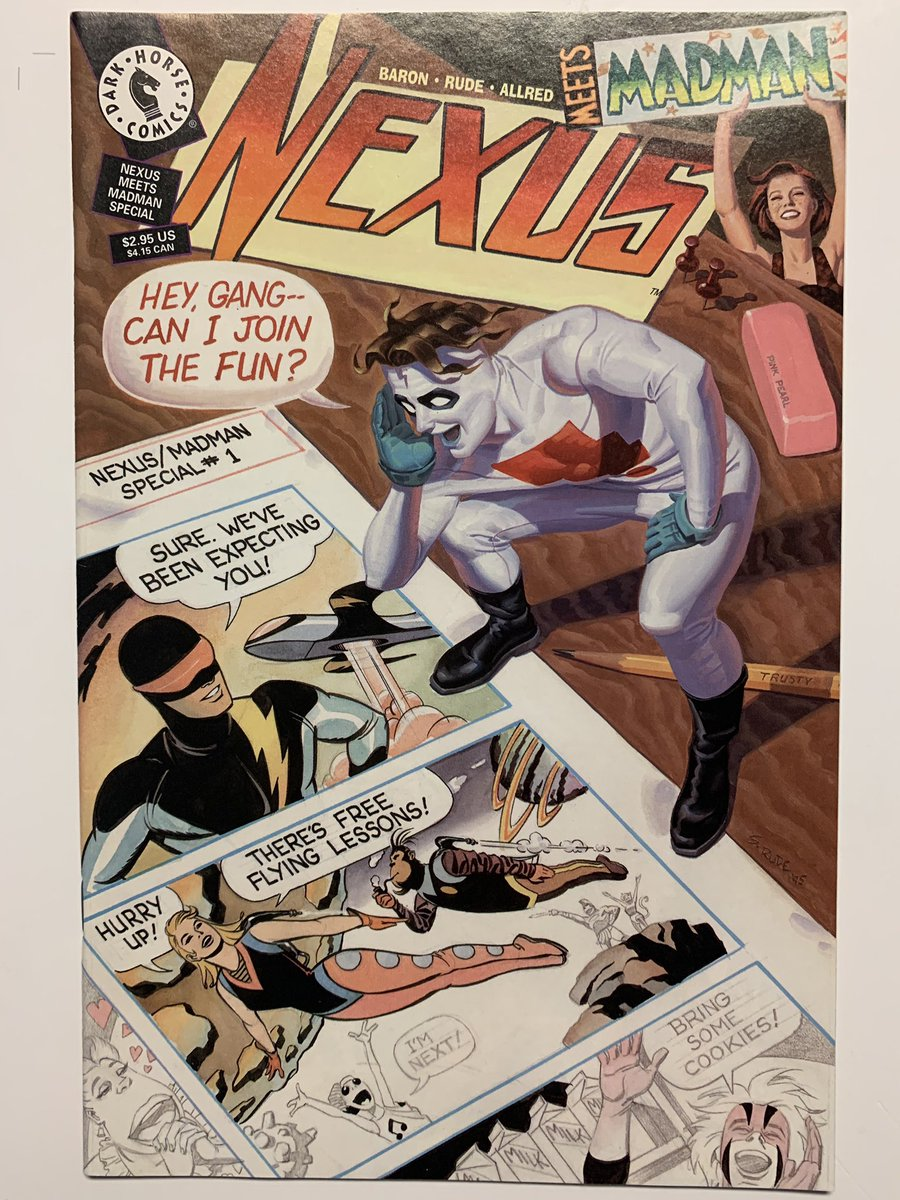 And behold this senses-shattering Nexus/Madman crossover by @BloodyRedBaron and @steverudeart! Nexus was ahead of its time with its sophisticated stories and Rude's artwork is a high point in comics history. The guys are clearly having fun with @AllredMD's characters. Gorgeous 🤩 https://t.co/L9taPeaVOu