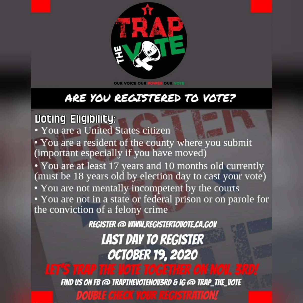 If you want to shake up the so called System of democracy you must register to vote......This isn't our only strategy but one that we must practice more diligently.....#traptheVote Nov 3rd #register2Vote https://t.co/9ZklLEZ0Ml