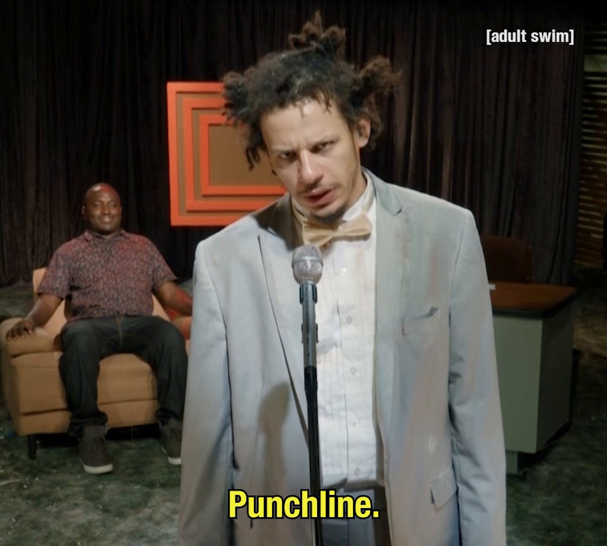 Eric Andre drops by Development Meeting to share his comedy wisdom tonight at 9pm ET on adultswim.com/streams