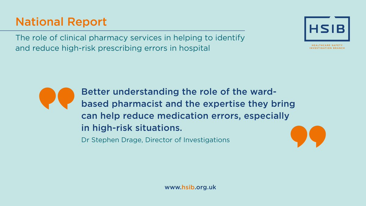 Our Director of Investigations on the role of #clinicalpharmacy in reducing high-risk #prescribing errors in hospital 👇 Read more in our news story (new report published today) >> https://t.co/yyseWlqOTx https://t.co/VCnaOKJje7