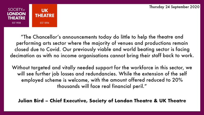 Our statement on today's announcements  @uk_theatre @london_theatre @SOLTnews @DCMS #WinterEconomyPlan https://t.co/mO8GoGss74