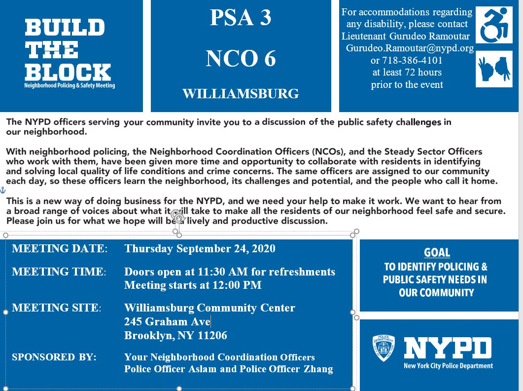 Calling all Williamsburg Residents: Your Neighborhood Coordination Officers are hosting their Build the Block Meeting today at 245 Graham Ave at 12 p.m. Don't forget to come and bring your mask! https://t.co/9ZSQgyjKSk