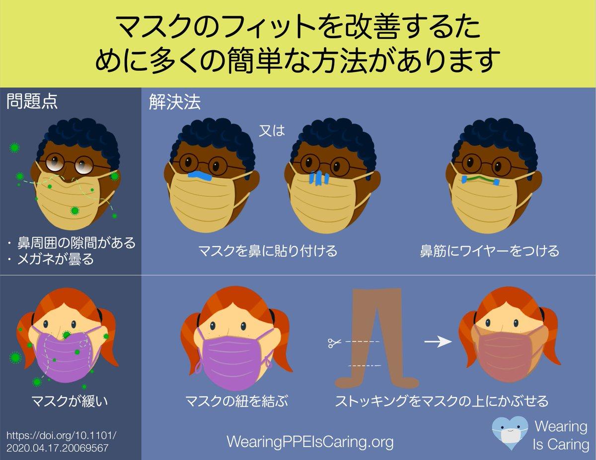 マスクのフィットを改善するために多くの簡単な方法があります!   #japanese #COVID19 https://t.co/RdLCz3ZSyA