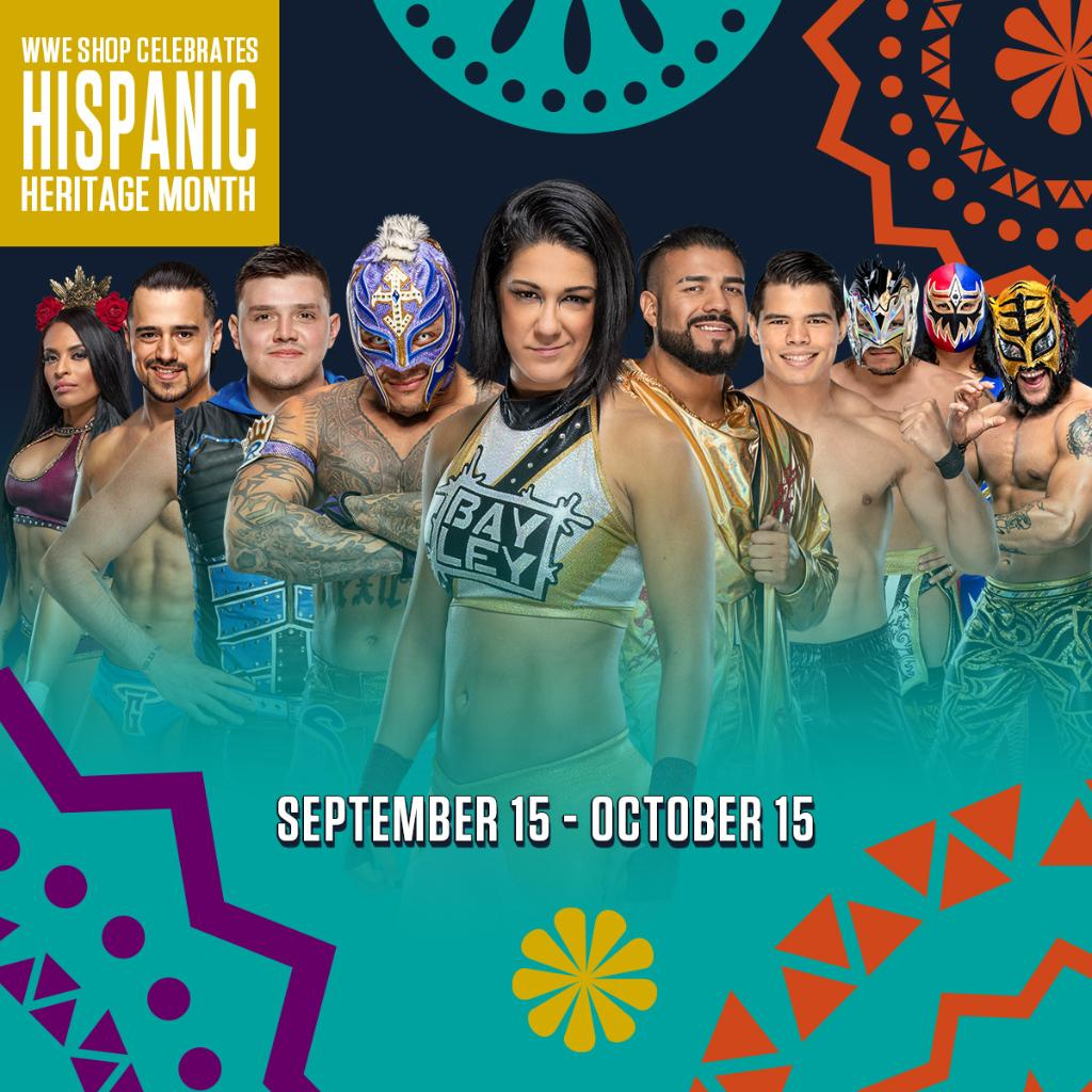 #WWEShop joins the entire #WWE Universe in celebrating #HispanicHeritageMonth! https://t.co/M5UXlahKss