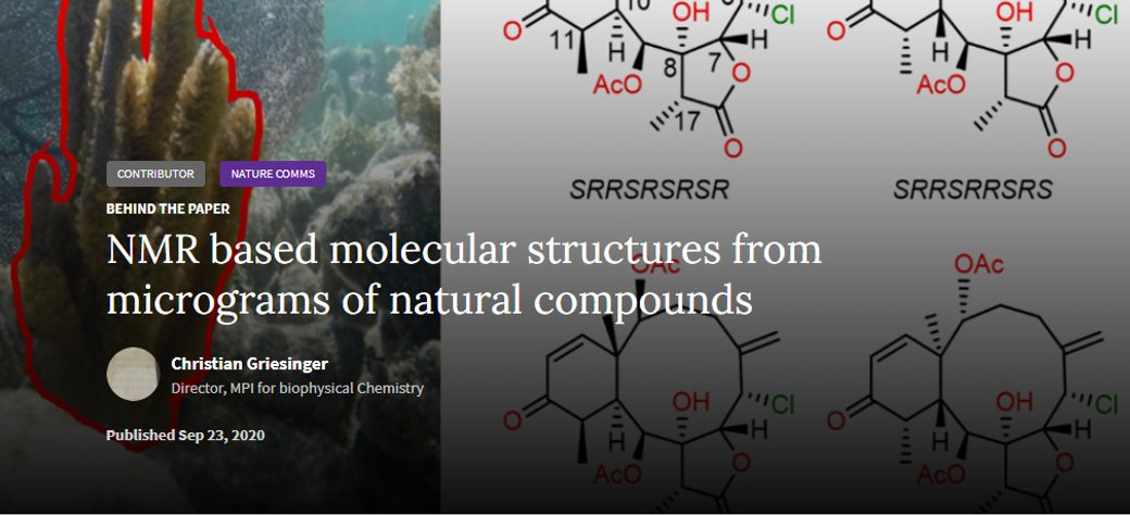 "#BehindThePaper: ""NMR based molecular structures from micrograms of natural compounds"". The last @NatureComms publication of #GrupoQUIMOLMAT in collaboration with the MPI for Biophysical Chemistry in one quick look! Don't miss it! https://t.co/tbSzsfm9F8 @maxplanckpress @mpi_bpc https://t.co/Tuqz5PNgEP"