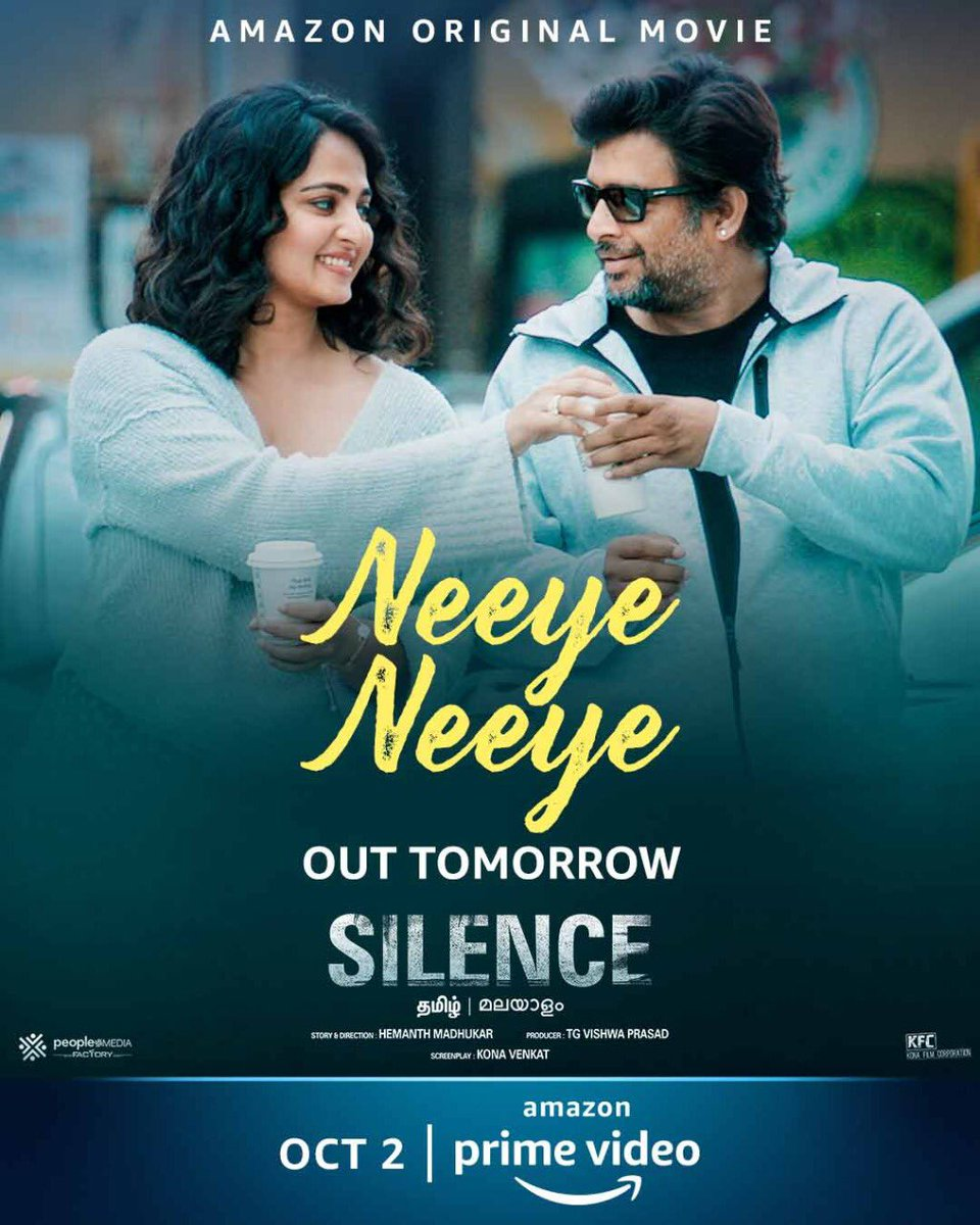 #Nishabdham ! #NeeyeNeeye Single Track Out From Tomorrow At 1️⃣ PM Premieres October 2️⃣ In Tamil And Telugu With Dubbed In Malayalam #AmazonPrime ! #SilenceOnPrime ! #AnushkaShetty ! @ActorMadhavan ! #ShaliniPandey ! @actorsubbaraju ! @yoursanjali ! #CineTimee ! https://t.co/YV0BRUwjp6