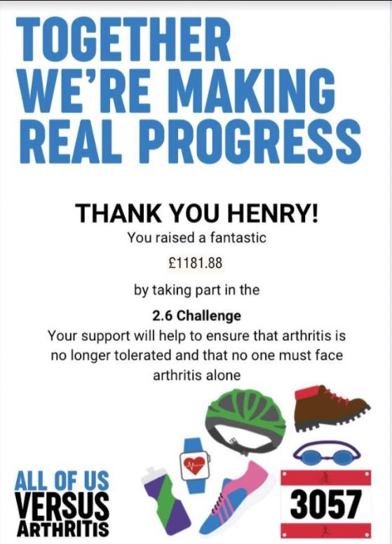 Congratulations to Henry in Class 2who has raised an fabulously impressive £1181.88 to combat arthritis.  We are so proud of your efforts, Henry!  Well done 👏👏👏 #Stbenets #twopointsixchallenge #arthritisawareness https://t.co/A8qLGSFIdX