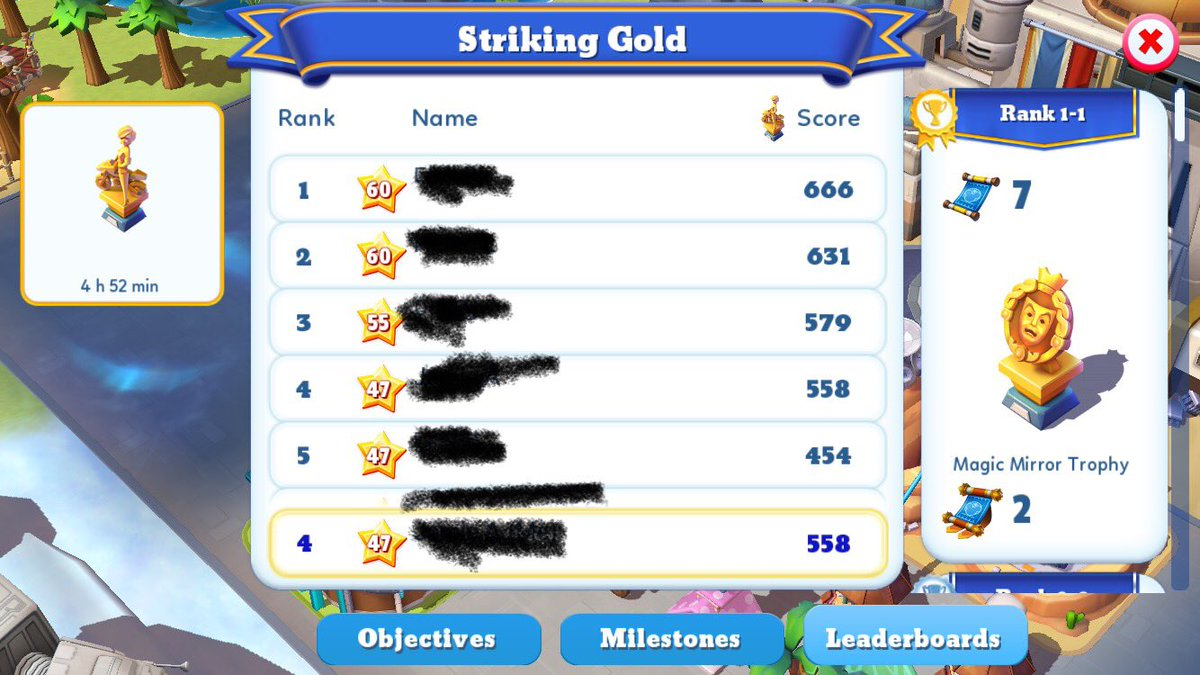 Hahaha yup, 4th. A little bummed that I'm not getting a trophy this time. Will win one when I have more characters in the future. 😉 #DisneyMagicKingdoms https://t.co/TmcRF0wFK5