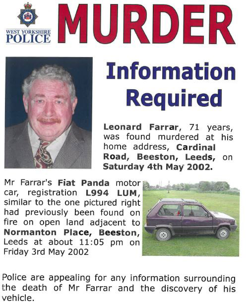 This is an appeal poster issued in 2002 in the search for Leonard Farrar's killer. It might be over 18 years since Leonard was brutally murdered but someone may still remember something that didn't seem important at the time – now is the time to tell us https://t.co/8KSqfi9IEc https://t.co/BNPdTCyeo5
