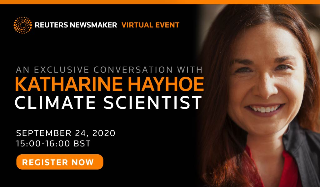 TODAY: Climate scientist @KHayhoe in conversation with @iron_emu & @katydaigle for a @reuters Newsmaker. Topics: climate change, our ability to tackle the challenge and whether society can adapt to a warming planet: https://t.co/WOBN9MzFbq #reuterslive #climateweek https://t.co/rjadhHTLyC