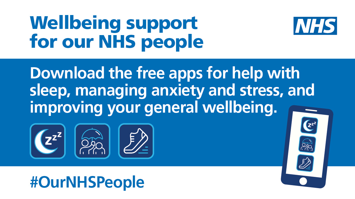 If you work for the #NHS, you can get free access to a range of wellbeing apps to help with: 🧘 mindfulness 🤯 reducing stress 😴 getting better sleep 💙 staying safe in crisis. Access wellbeing support for #OurNHSPeople at https://t.co/tv2ALIRydi. https://t.co/NQ6cNfyjGu