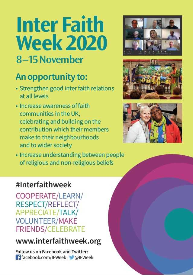 #Interfaithweek is coming up: 8-15 November! Please retweet so even more people can find out about this great way, during #COVID19, to develop and strengthen connection with people of different #faiths & #beliefs.  #interfaith #neighbourliness #respect #volunteering #socialaction https://t.co/RAQMzsq0K7