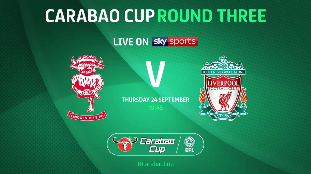 Tonight's CARABAO CUP action LIVE on the MEGA SCREEN with commentary   ⚽️ Lincoln City v Liverpool 7:45pm  #Stafford #football #sportsbar #carabaocup https://t.co/u2LLDsEszv
