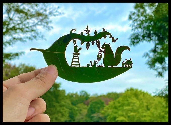 @journaldesign : L'artiste @Teriyaki_Cheese sculpte les feuilles des arbres comme personne ! Infos & images ici : https://t.co/t4fkOxAq3L  #art #papercut #tree #leaf #kirie #japaneseart #details #carving #playful #narratives https://t.co/zM81RkPkVI https://t.co/plPLpsZkg6