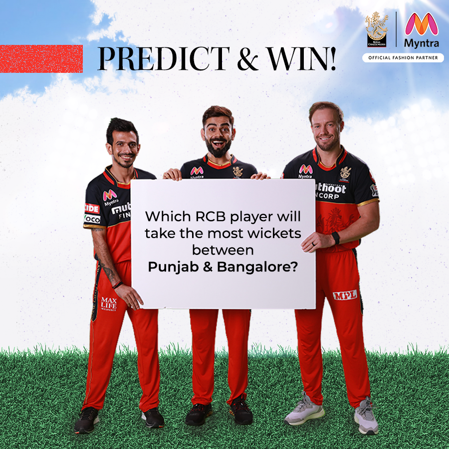 #MyntraPredictAndWin  Which RCB player will take most wickets in today's match (predict before match starts), and 1 lucky contestant gets a #Myntra Gift Voucher worth Rs. 1000.   + Answer using #MyntraPredictAndWin    Multiple entries Allowed hai!  #ContestAlert #ContestIndia https://t.co/lyNN1GlcG3