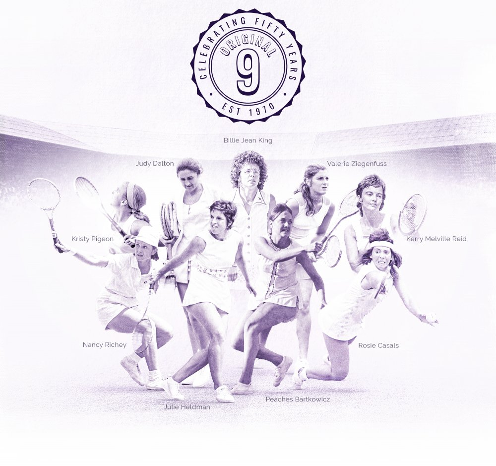 A salute to the #Original9. Yesterday marked 50 years since the history was made @WTA @BillieJeanKing♥️ #Equality #ADollarMakesADifference #WomenSupportingWomen #women  #wta #tennis #sports https://t.co/fBPg4OKig0