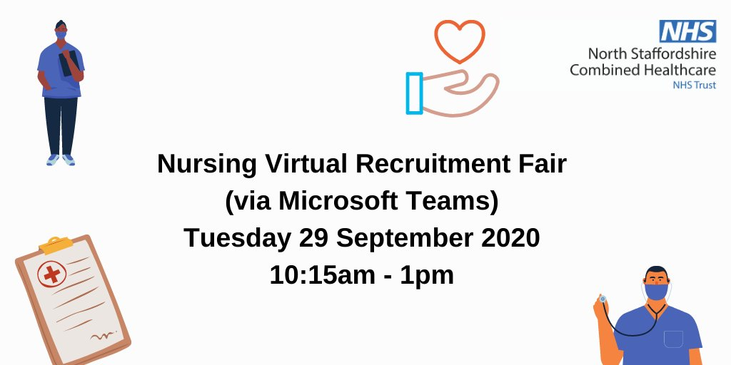 Have you signed up for our Nursing Virtual Recruitment Fair? 10:15am - 1pm, Tuesday 29 September - Band 5 RMN, Staff Nurse and Nursing Apprenticeships first stage interviews will be available on the day. For more info and to register, pls visit https://t.co/eX7PaXAQRm https://t.co/89CajrWytZ