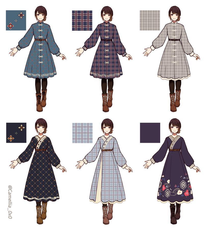 民族衣装 × 現代服 デザインスケッチ