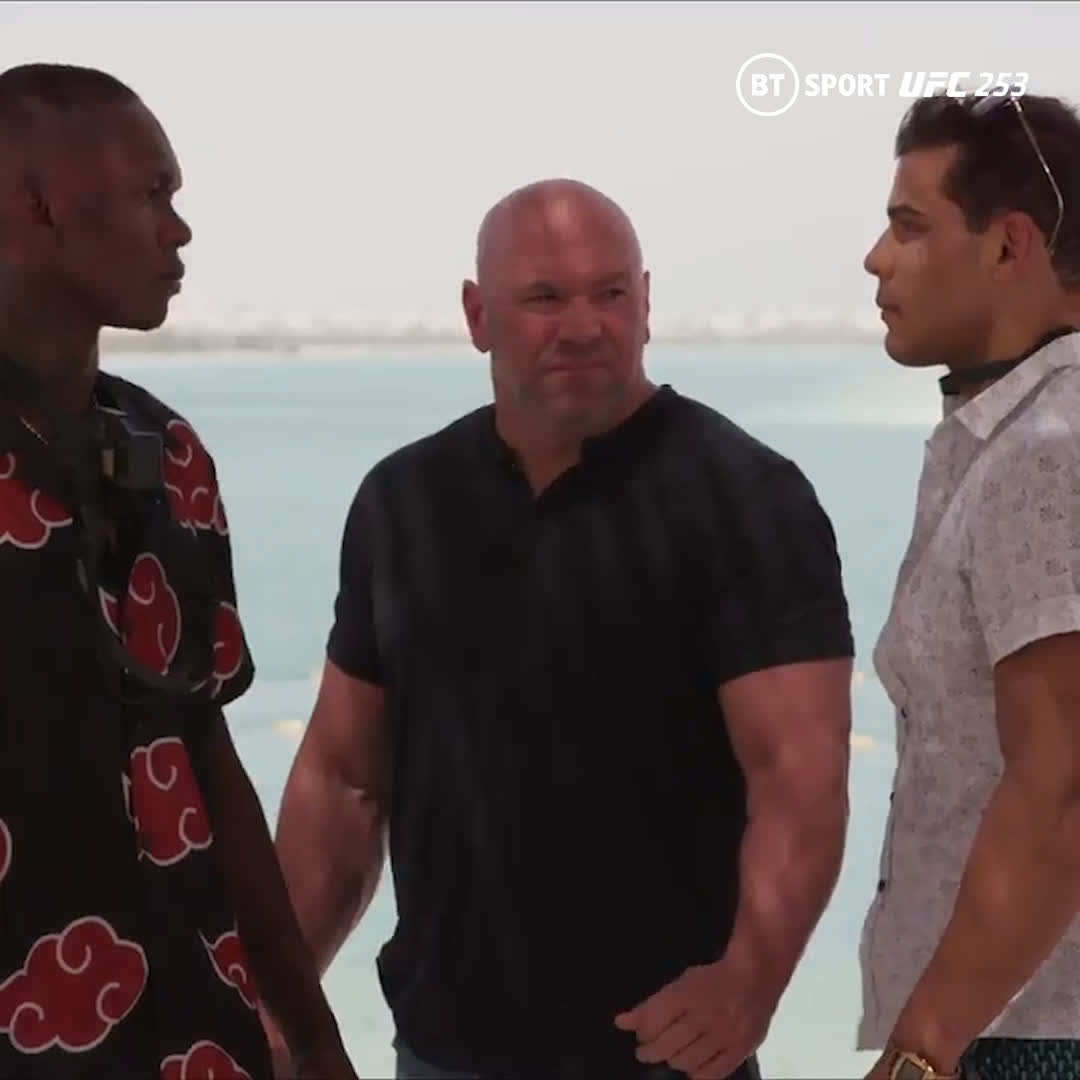 Israel Adesanya and Paulo Costa face off.   The pair are set to go head to head this weekend.  We're in for a cracker.  #UFC253 | #UFC | #MMA   https://t.co/OOCVK3ySds