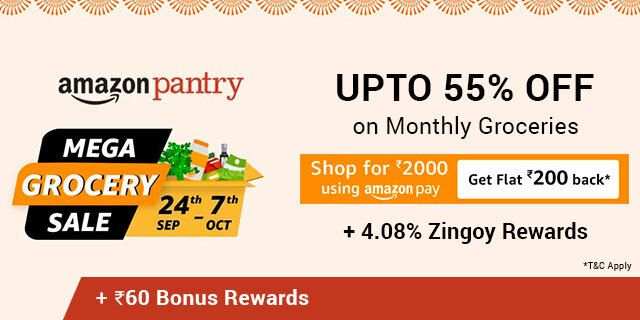 Amazon Mega Grocery Sale is now live Enjoy up to 55% OFF on Monthly Groceries & Many more discounts.  To know more visit: https://t.co/CogpIwaNca  #offers #deals #shopping #grocery #cashback #savings #discount #onlineshopping #thursdayvibes https://t.co/9FNP4R8TjY